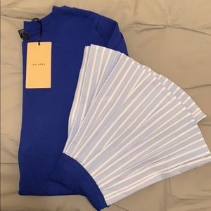 Halogen Royal blue, stripped flare sleeve sweater